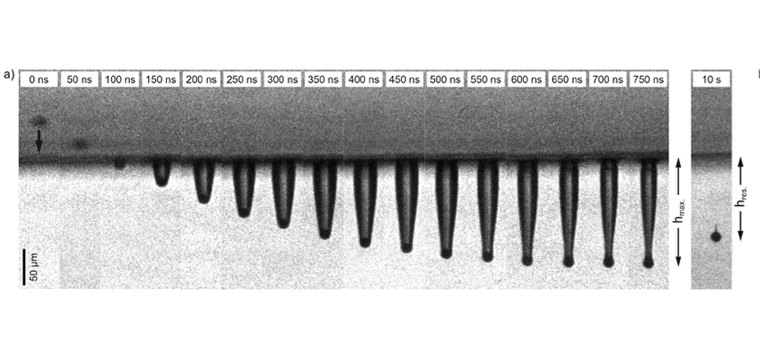 Image sequence recorded using a high-speed camera showing a particle impact on a 40vol% SEBS sample. A 13-μm steel micro-particle impacts with a speed of 630 m/s. The time stamps, shown at the tops of the frames, indicate the delay in acquisition time relative to the first frame of the sequence.